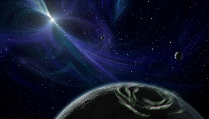 """Artystyczne wyobrażenie planety położonej w pobliżu pulsara – gwiazdy neutronowej - PSR 1257+12 """"Lich"""". Źródło: NASA."""